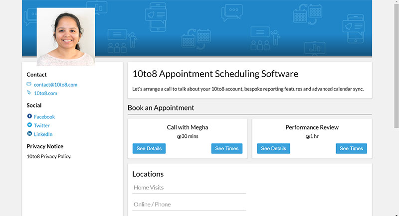 online booking page with staff photos