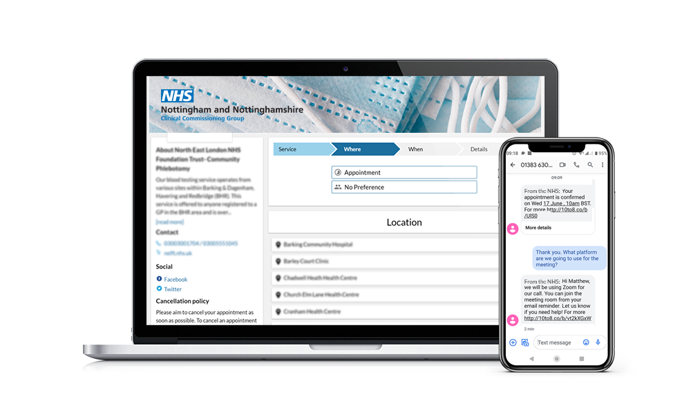 Online Booking Page for Health Care Professionals