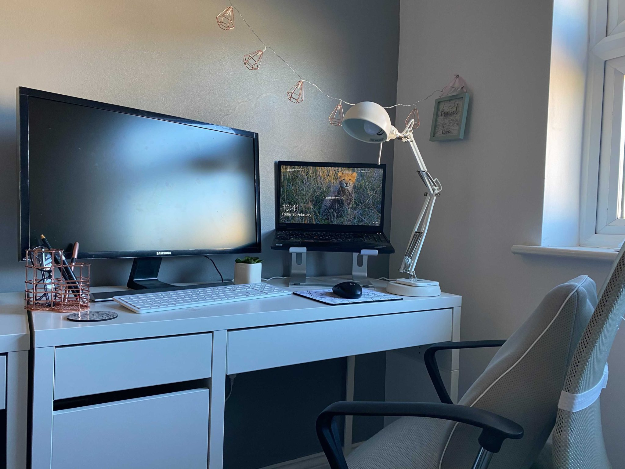 try to keep your home office set up tidy and make it your own
