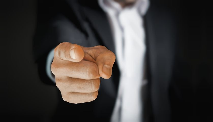 Man pointing because he wants to hire the right talent