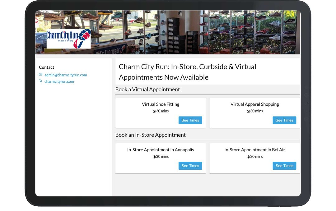 retail booking system CharmCityRun online booking page