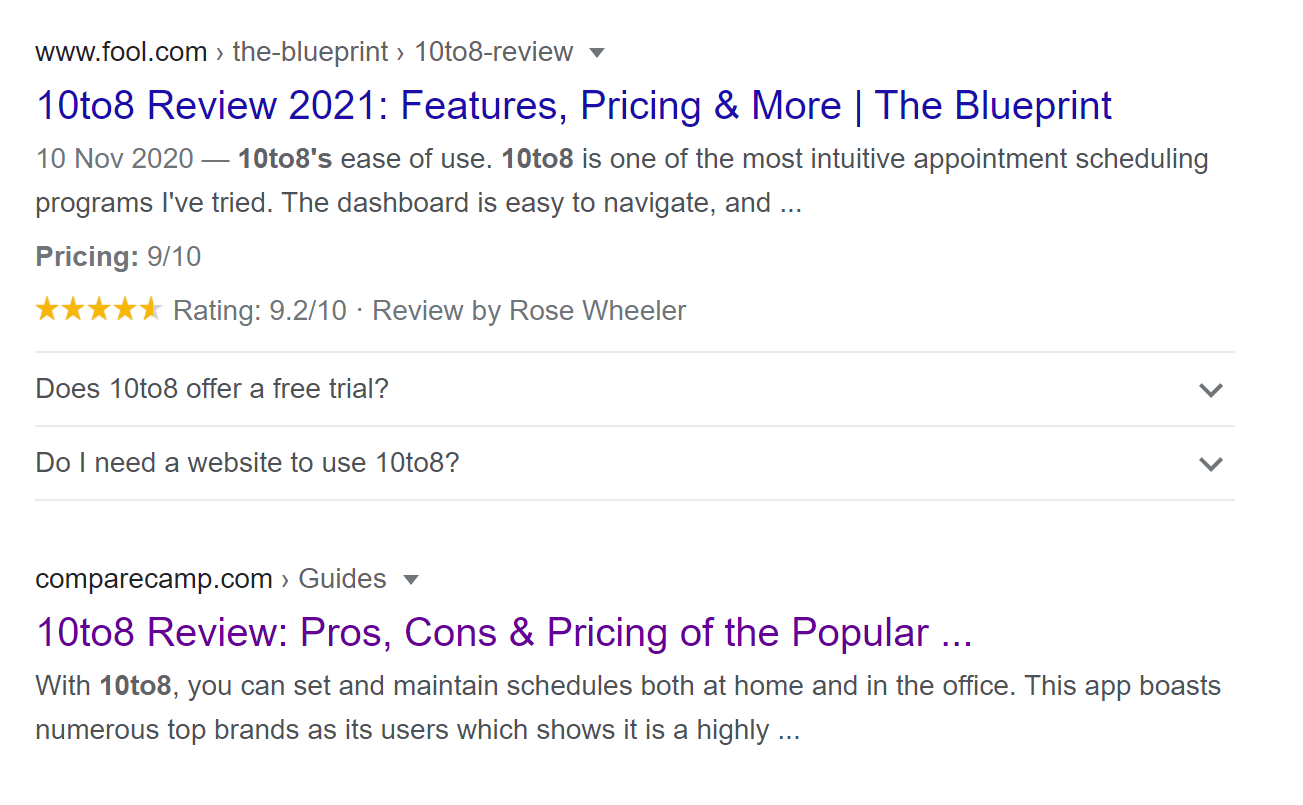 The benefits of customer reviews in Google Search Results