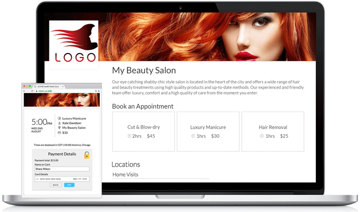 Online Booking Page for Beauty & Salons