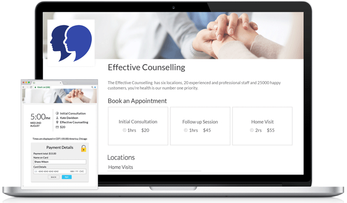 Online Booking Page for counsellors and psychotherapists