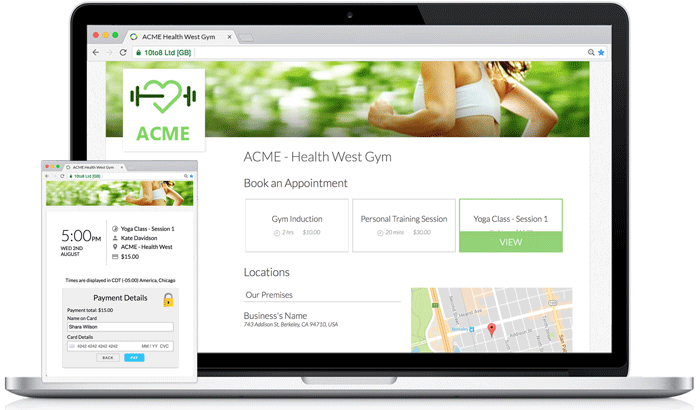 Online Booking Page for Complementary Health Professionals