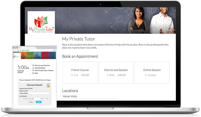 Online Booking Page for Private Tutors and Teachers