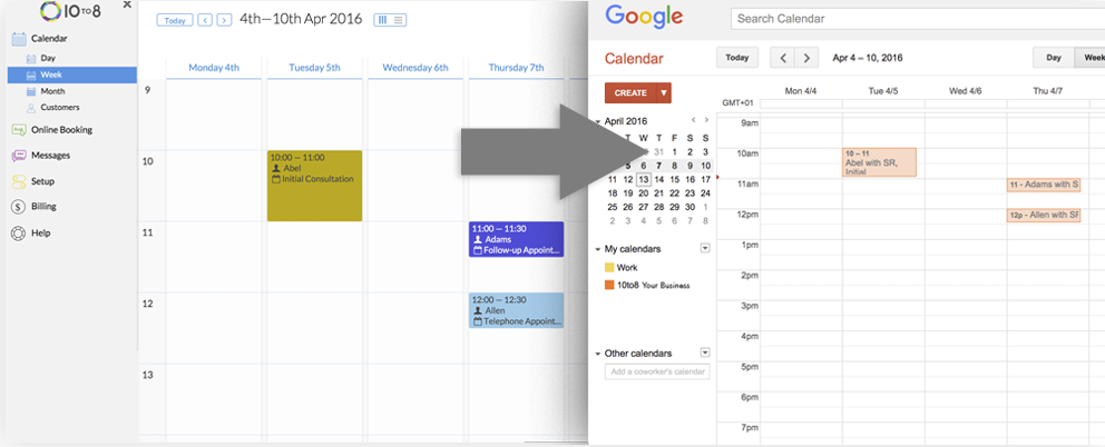 2-Way Calendar Sync With 10to8 Appointment Scheduling Software