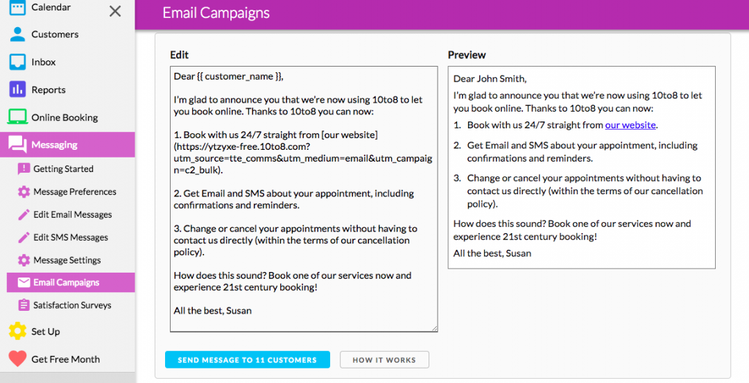 appointment booking system email campaigne