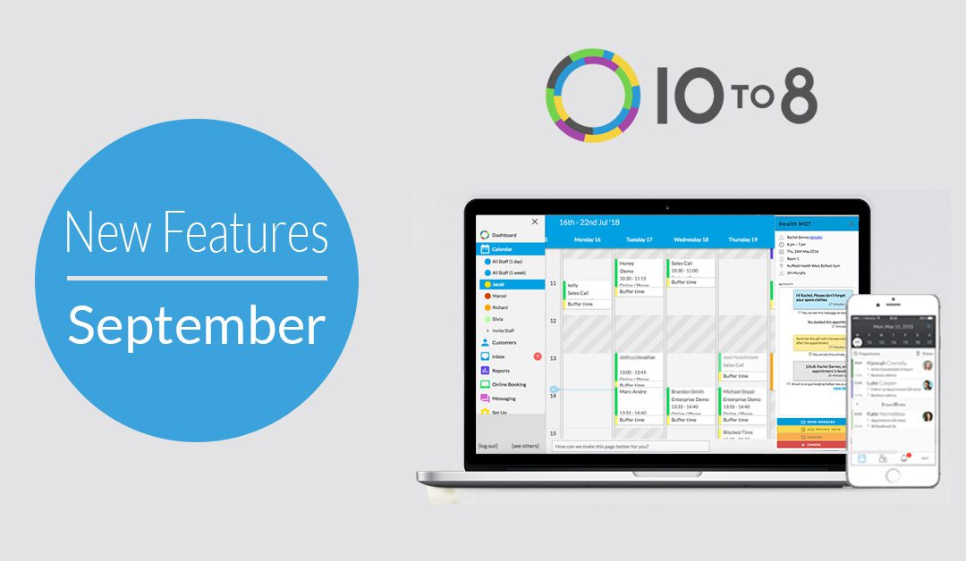 New Features In September | 10to8 Appointment Scheduling Software