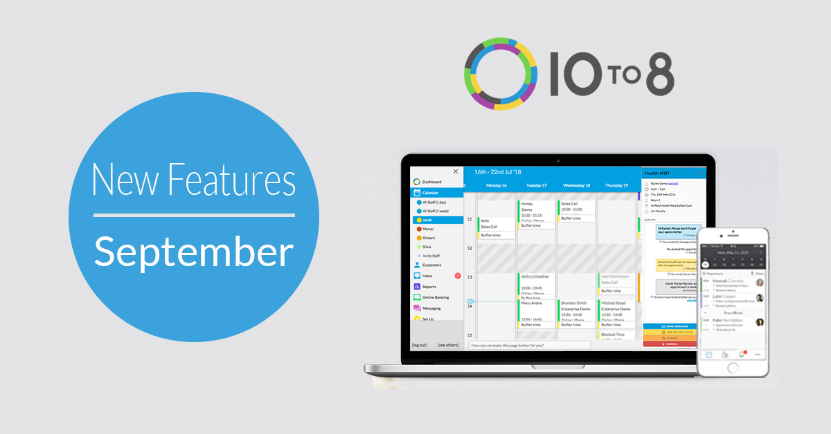 new features september 10to8 appointment scheduling software