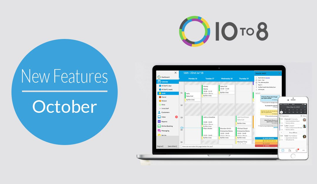 New Features In October | 10to8 Appointment Scheduling Software