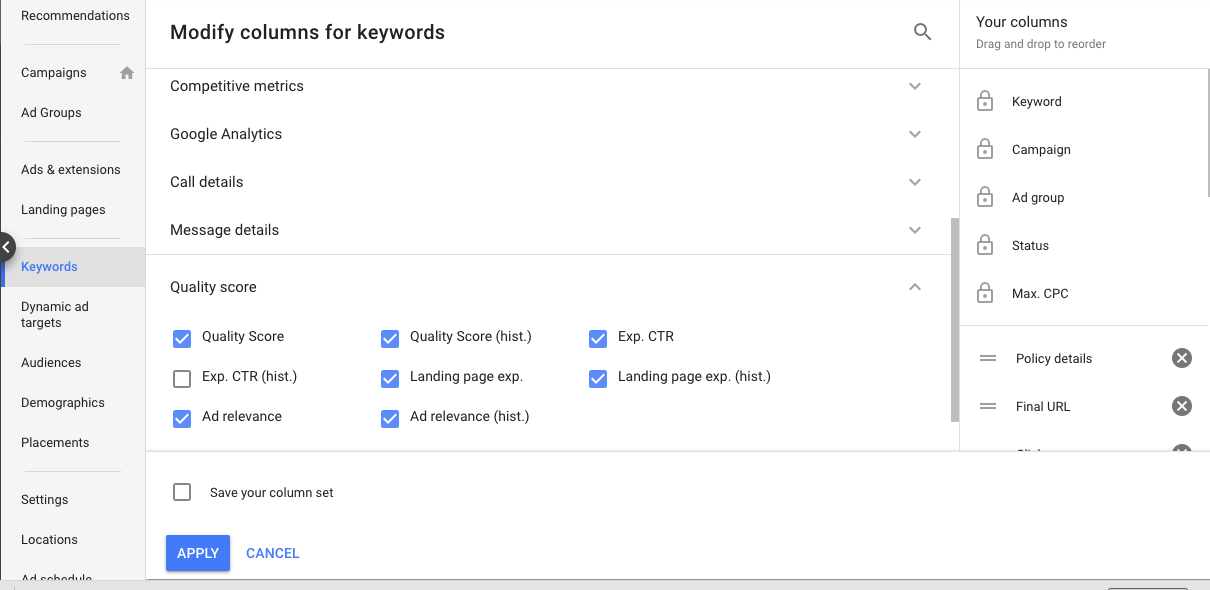 adwords quality score appointment scheduling software