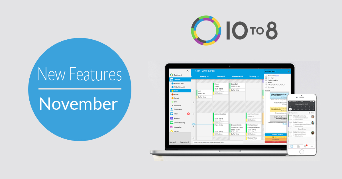 10to8 appointment scheduling software new features november