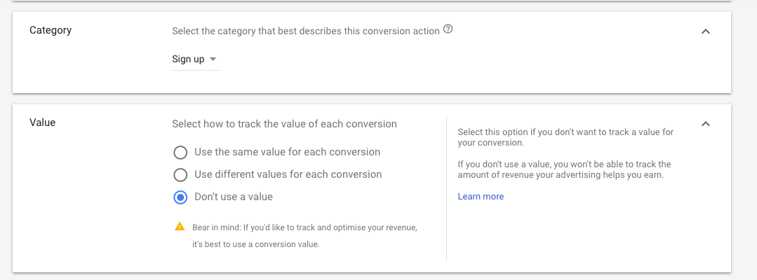 adwords measuring tracking success conversion category