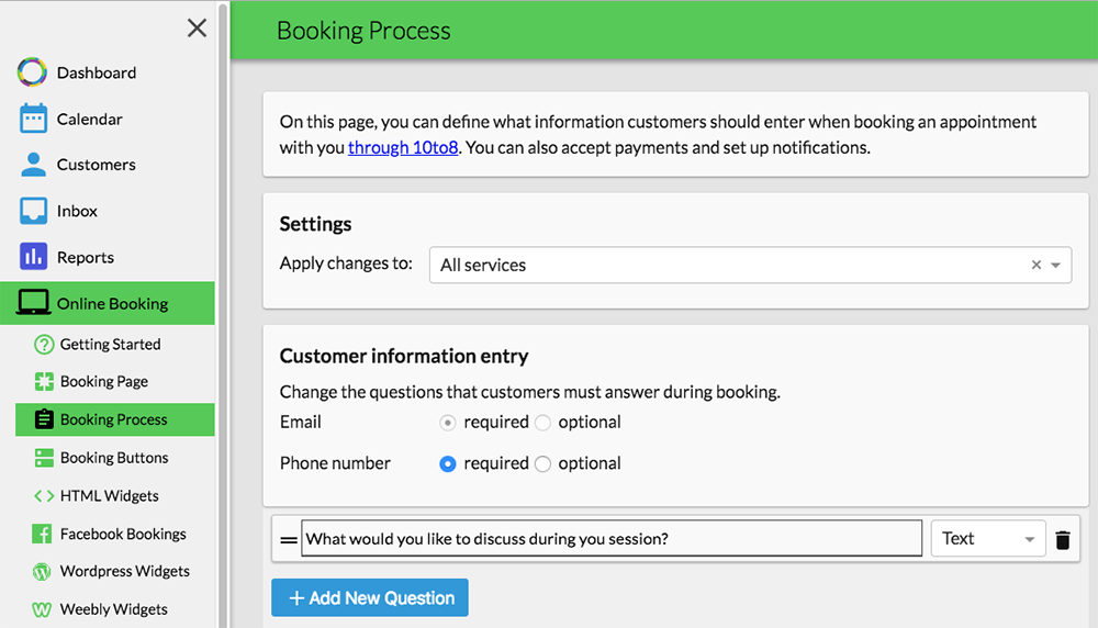 online booking system questions
