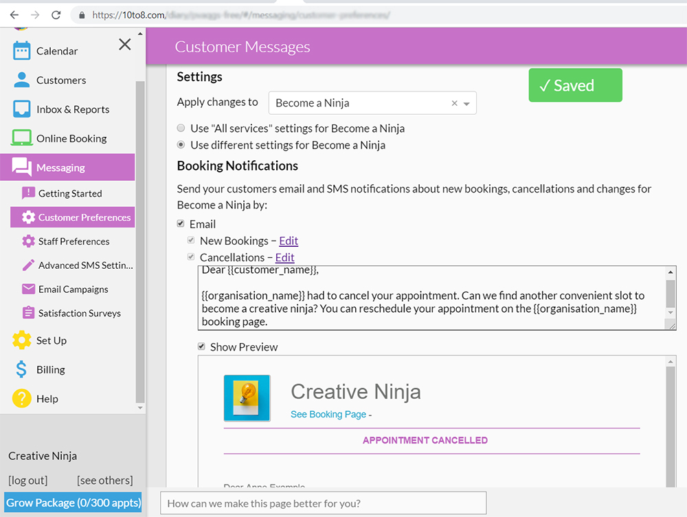 10to8 online booking system service based communications